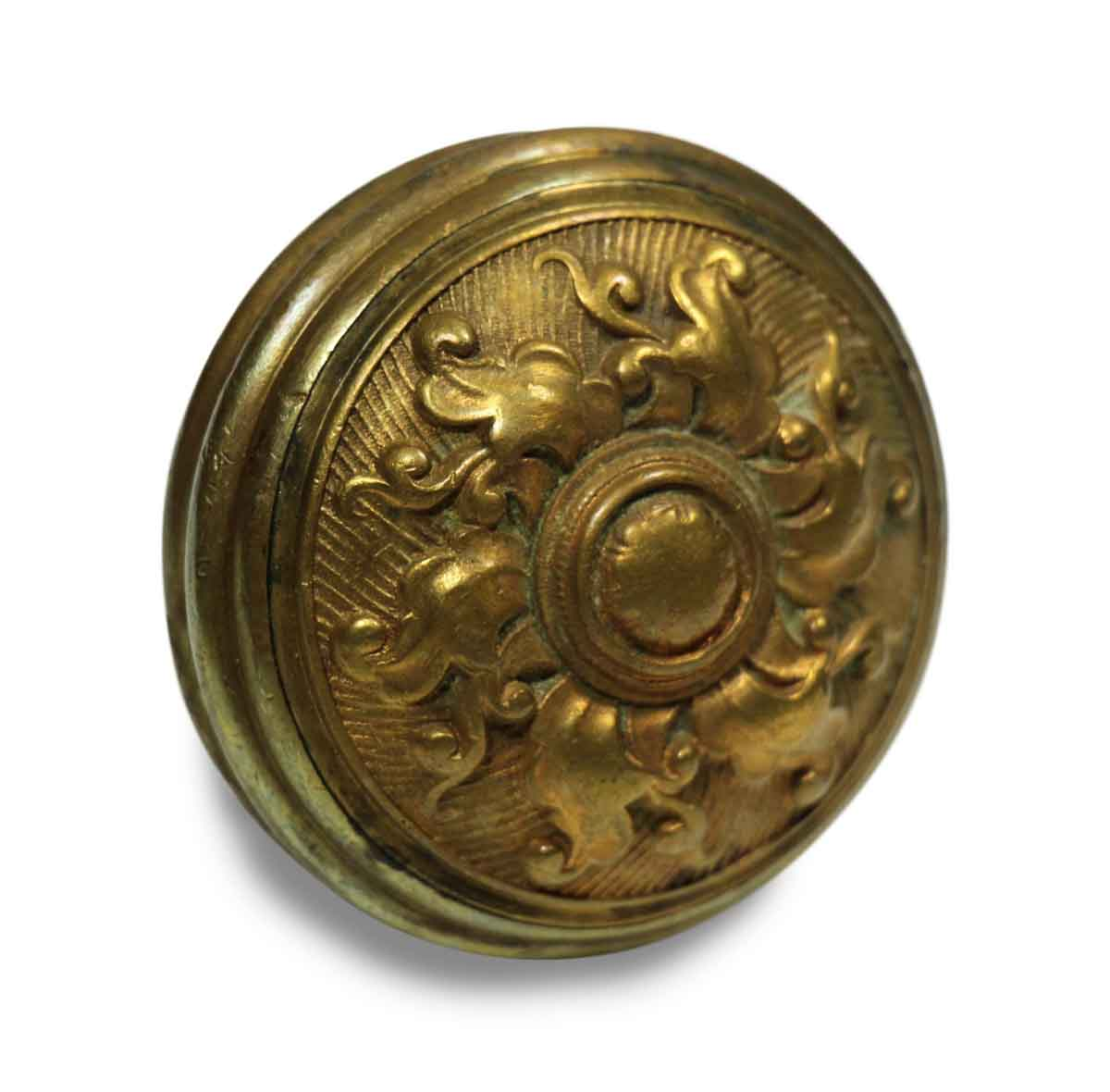 Antique Six Fold Spiral Bronze Ornate Door Knob Olde