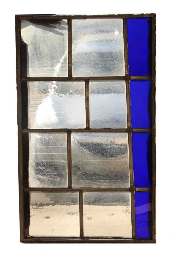 Exclusive Glass - Salvaged Blue & Clear JFK Glass Window Panel