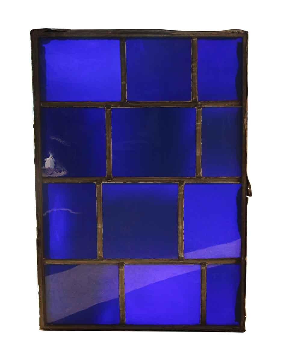 Salvaged Dark Blue Jfk Glass Window Panel Olde Good Things