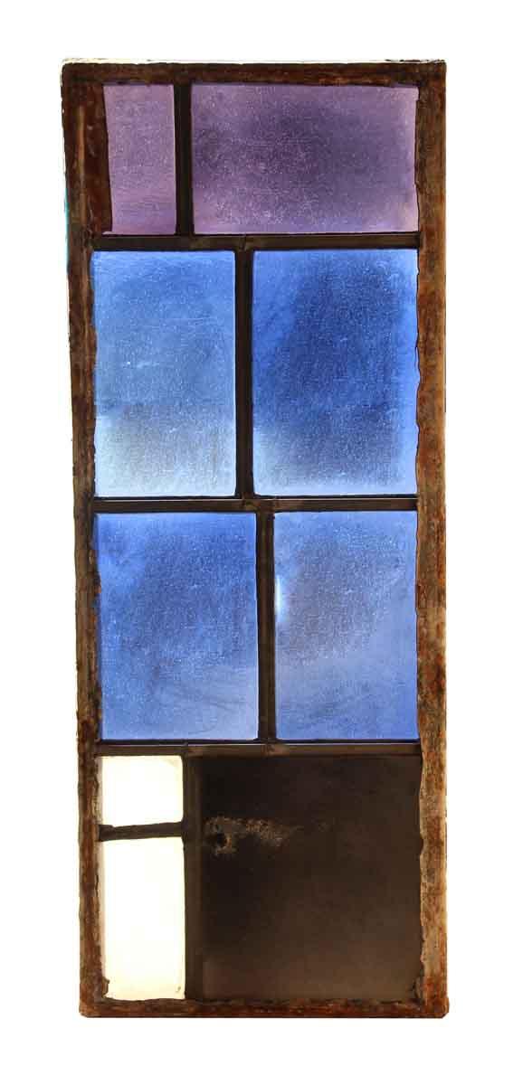 Exclusive Glass - Salvaged Purple & Blue JFK Glass Window Panel