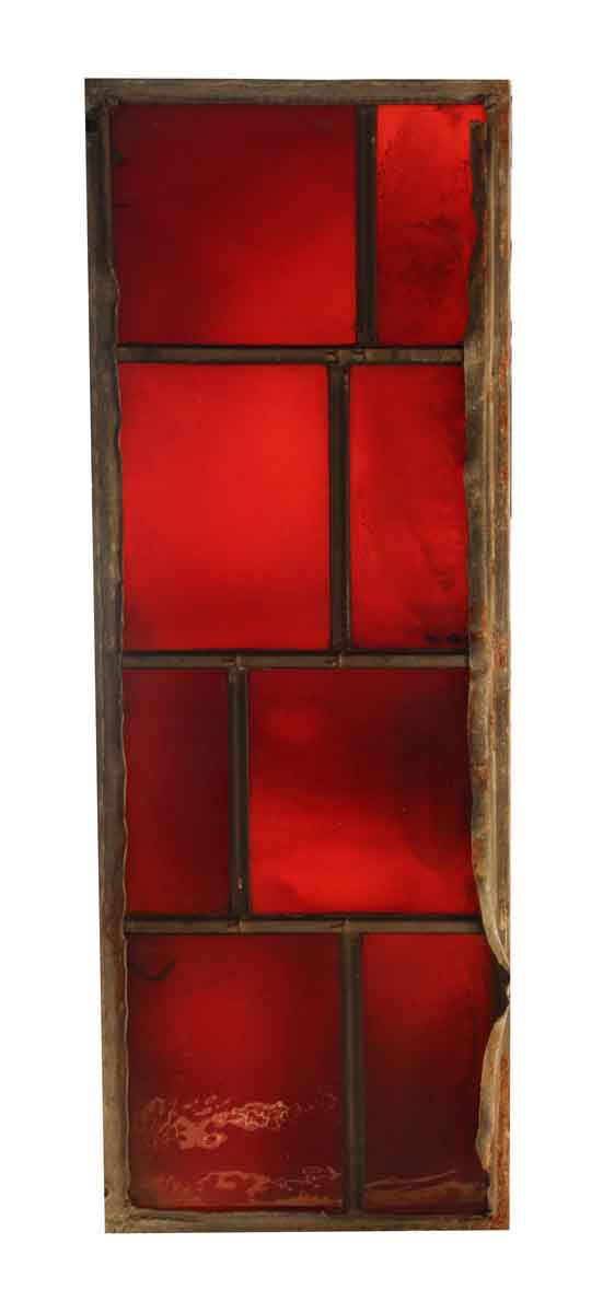 Exclusive Glass - Salvaged Red JFK Glass Window Panel