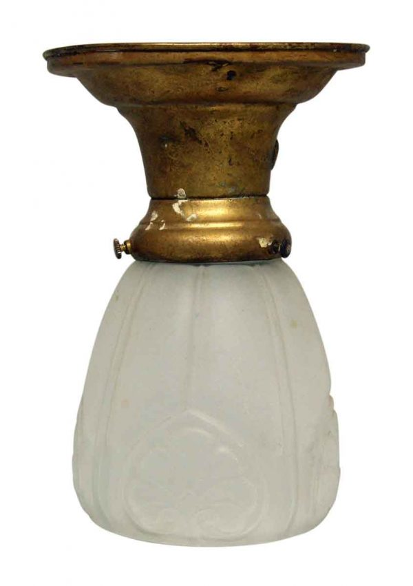Flush & Semi Flush Mounts - Small Frosted Glass Light with Brass Fixture