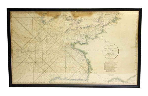 Globes & Maps - Vintage Black Framed British Channel Map