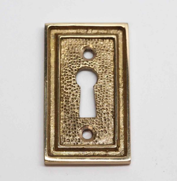 Keyhole Covers - Art Deco Square Edged Brass Textured Escutcheon