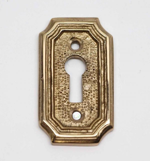 Keyhole Covers - Art Deco Textured Arched Edged Brass Key Hole Cover