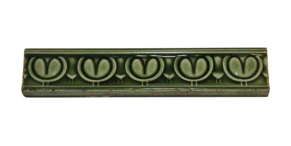 Liners Tiles - Set of Green Tulip Trim Antique Tiles