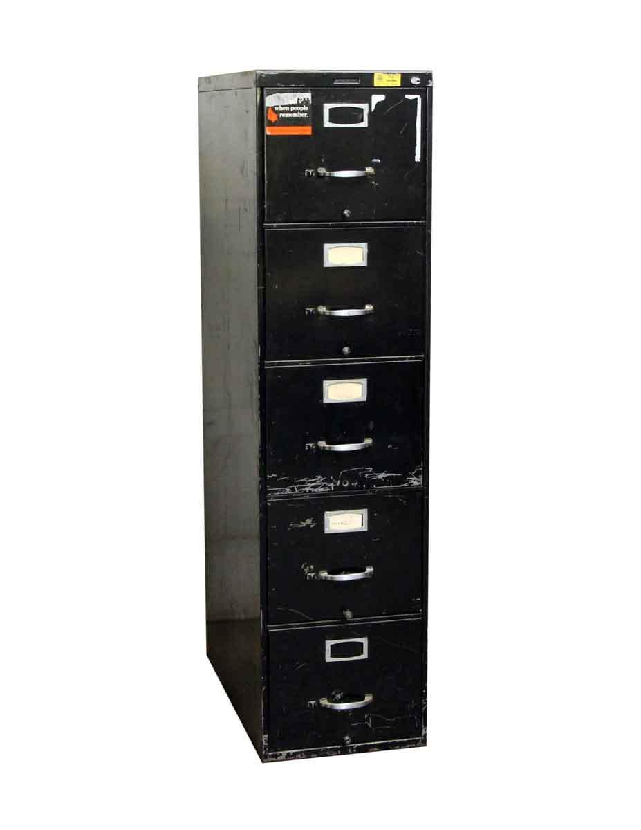 Office Furniture Vintage Used Steelcase Black 5 Drawer File Cabinet