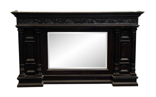 Overmantels & Mirrors - Antique Victorian Wood Overmantel with Beveled Mirror