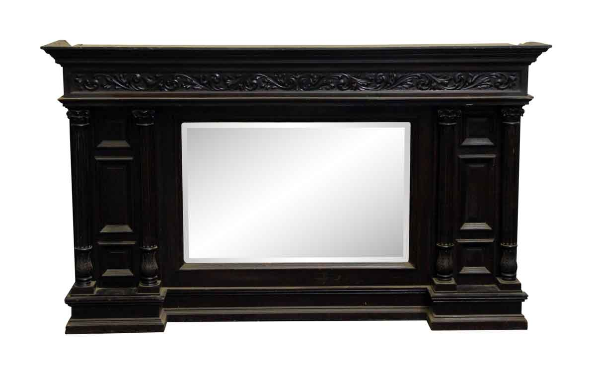 Antique victorian wood overmantel with beveled mirror for Mantel mirrors