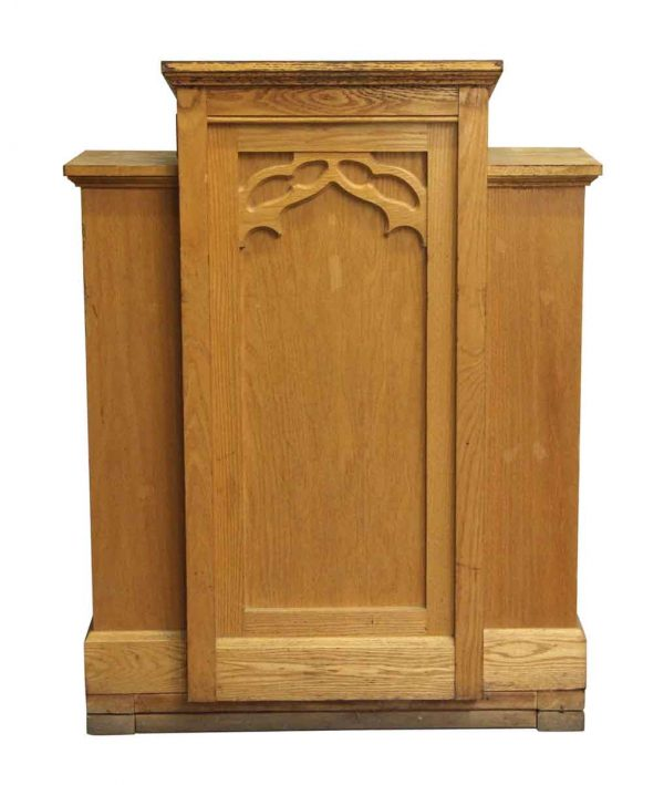 Religious Antiques - Antique Gothic Wooden Three Paneled Podium