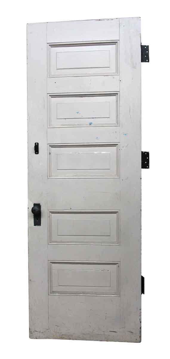 Antique White Wooden 5 Panel Interior Door Olde Good Things