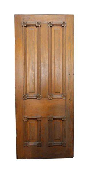 Old Interior Wooden Door with Bulls Eye Details   Olde Good Things