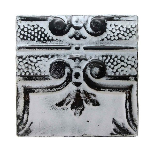 Tin Panels - Black & White Four Leaf Antique Tin Panel
