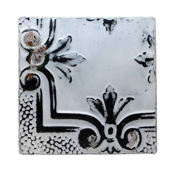 Tin Panels - Black & White Tin Panel with Corner Design