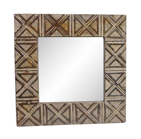 Antique Tin Mirrors - Antique Brown Square Tin Mirror