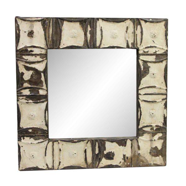 Antique Tin Mirrors - Distressed White Snowflake Tin Mirror