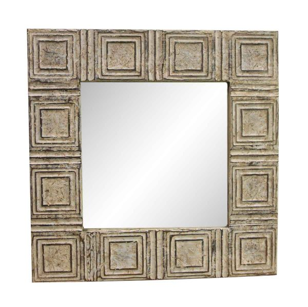 Antique Tin Mirrors - Handmade Tan Squares Antique Tin Panel Mirror