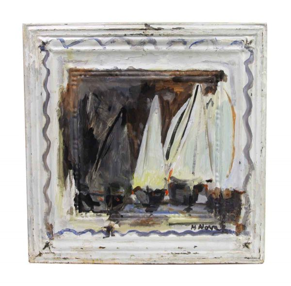 Hand Painted Panels - Hand Painted Abstract Sailboat Tin Painting