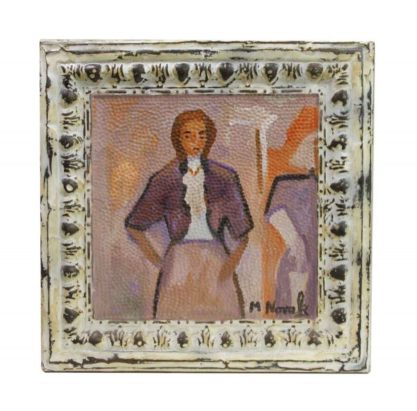 Hand Painted Panels - Hand Painted Novak Portrait Antique Tin Panel Painting