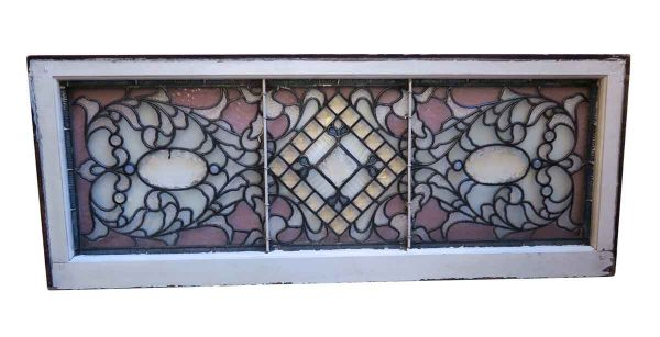 Stained Glass - Antique Clear & Lavender Stained Glass Window