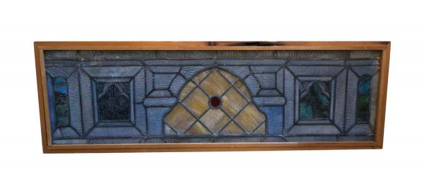 Stained Glass - Antique Stained Glass with Red Centered Jewel