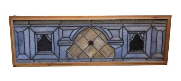 Stained Glass - Antique Stained Glass with Red Jeweled Center