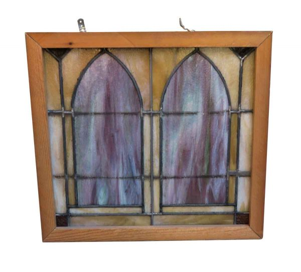 Stained Glass - Arts & Crafts Arched Purple & Yellow Stained Glass Window