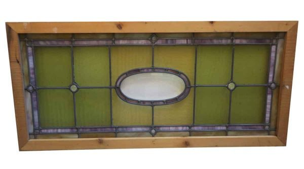 Stained Glass - Newly Framed Antique Green & Yellow Stained Glass