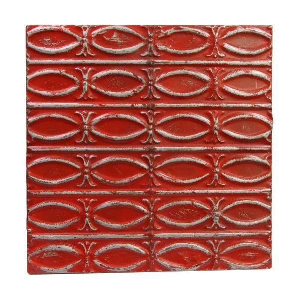 Tin Panels - Handmade Antique Red Fish Tin Panel