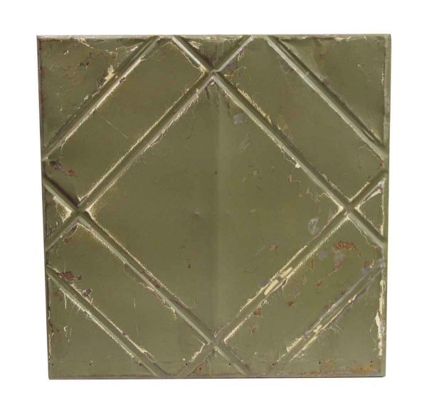 Tin Panels - Handmade Green Geometric Antique Tin Panel