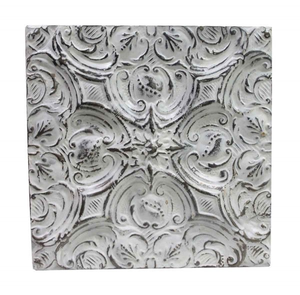 Tin Panels - Handmade White Floral Raised Tin Panel