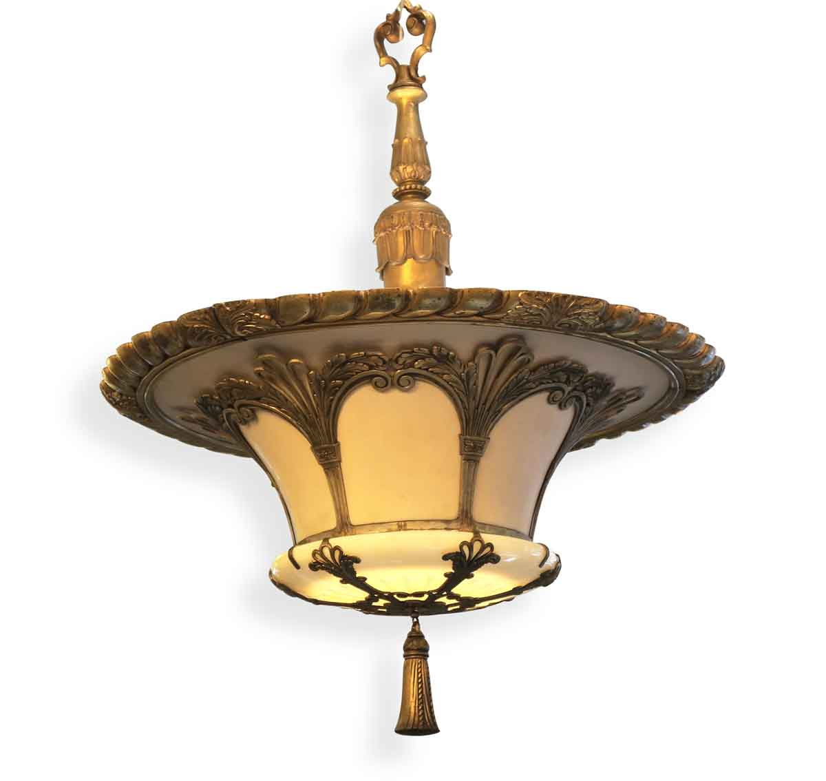 Art deco bronze glass pendant up light olde good things Artisan glass pendant lights