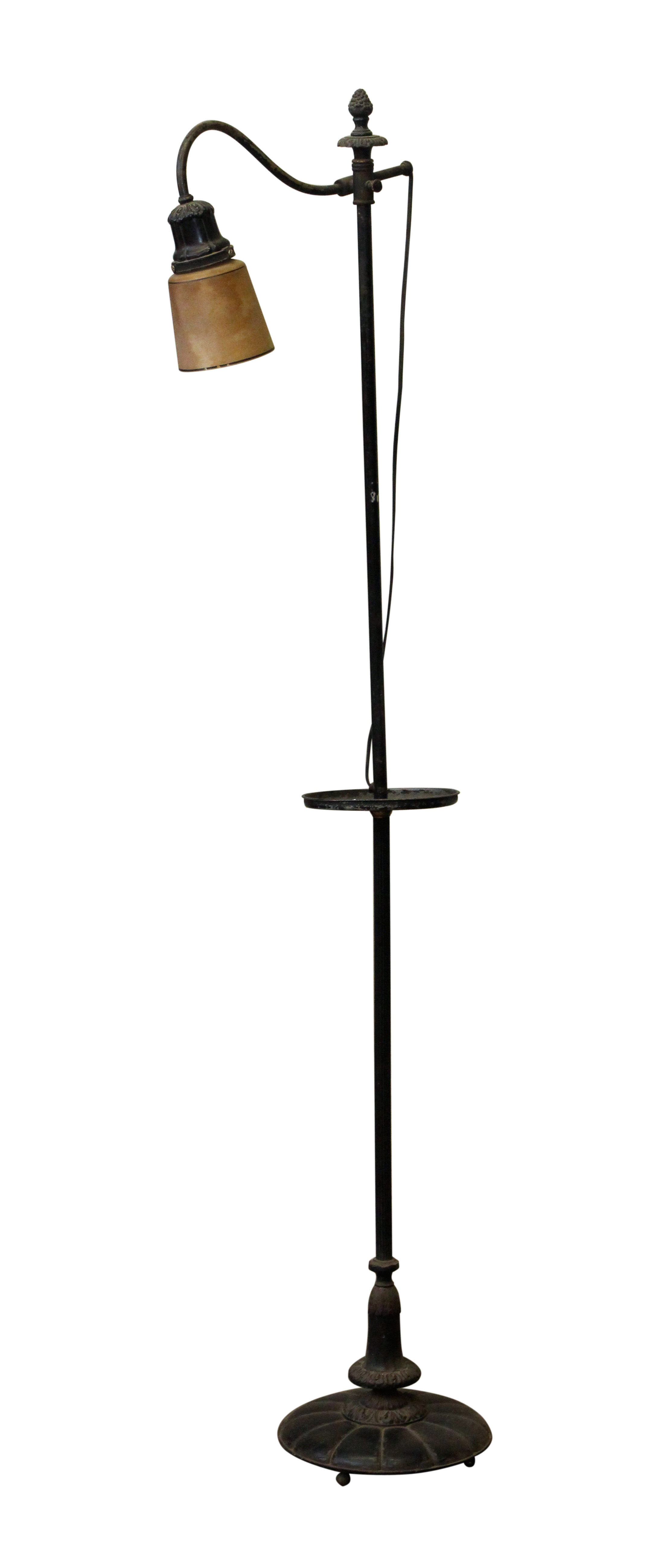 Simple Standing Bridge Floor Lamp With Gl Shade