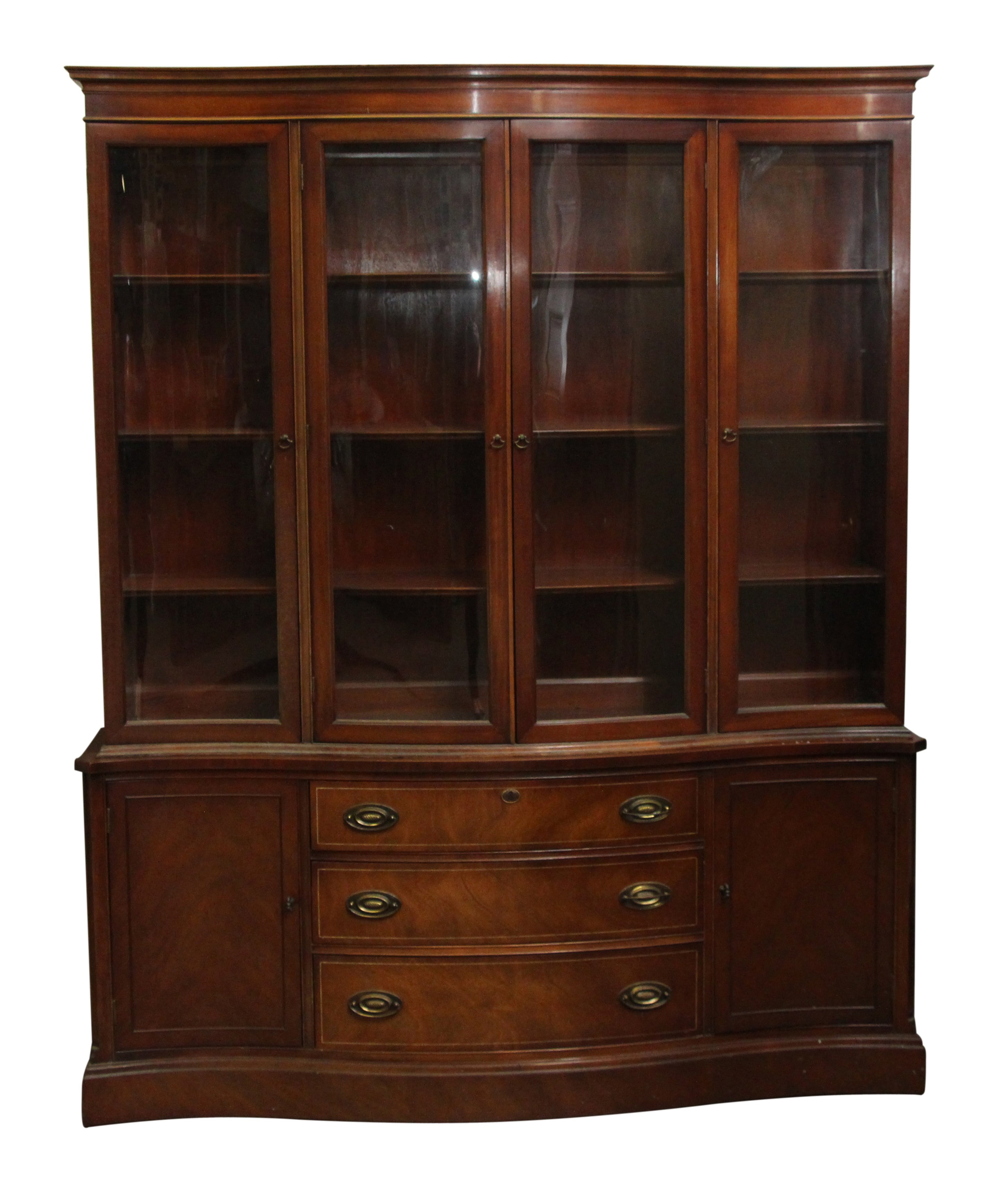 Vintage Curved Glass Front Mahogany China Cabinet