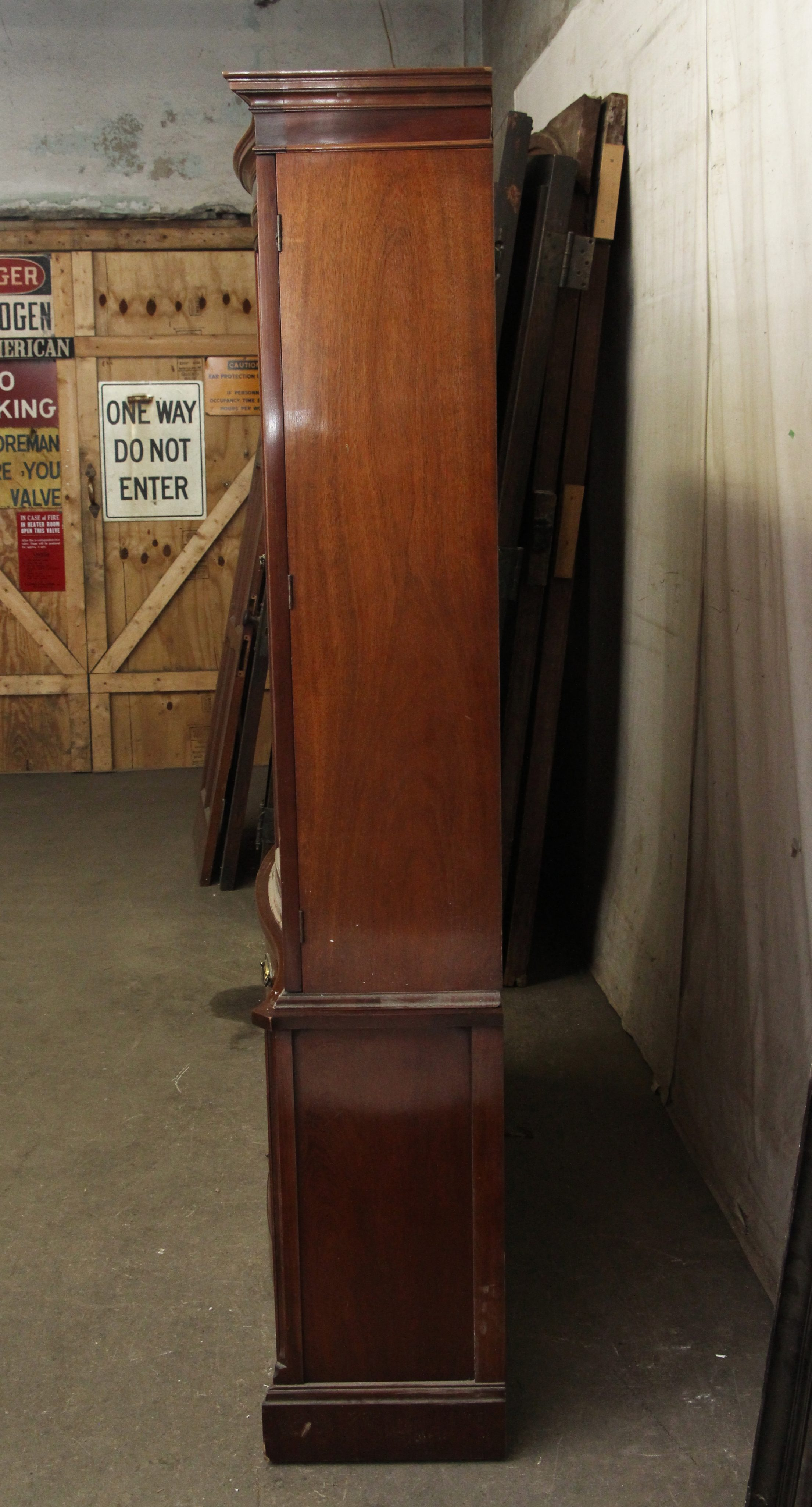 Vintage Curved Glass Front Mahogany China Cabinet Olde
