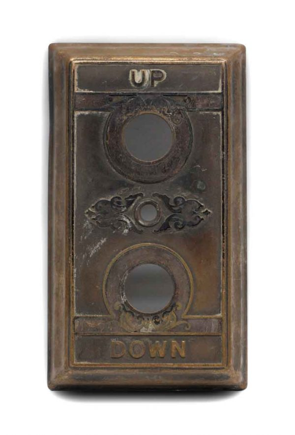 Elevator Hardware - Antique Brass Up & Down Plate