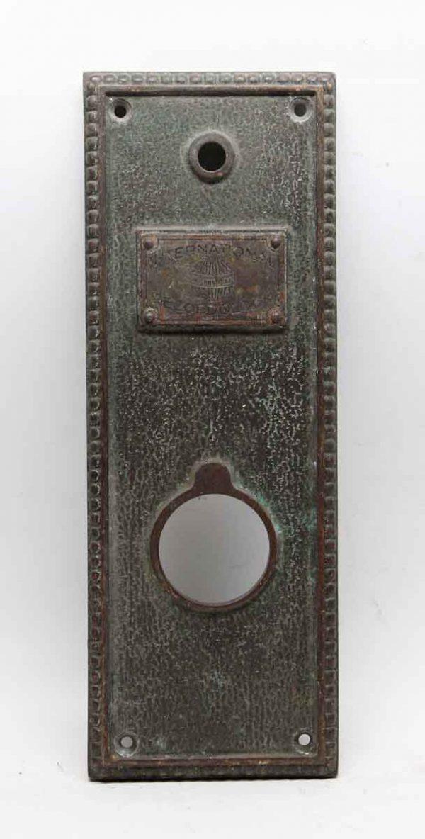 Elevator Hardware - Antique Bronze International Recordolock Elevator Plate