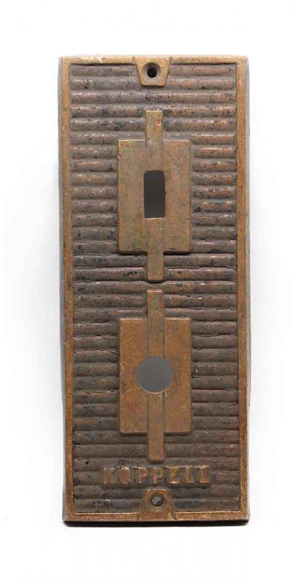 Elevator Hardware - Antique Cast Bronze Koppell Elevator Plate