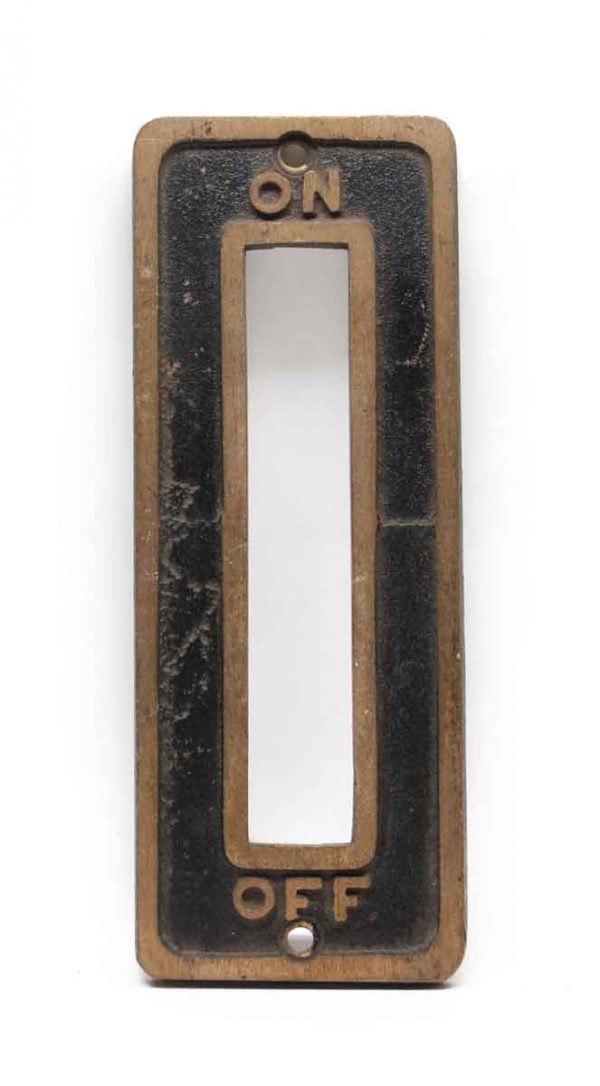 Elevator Hardware - Antique On & Off Bronze Elevator Plate