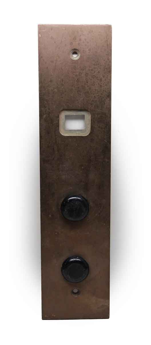 Elevator Hardware - Mid Century Cast Brass Two Button Elevator Plate