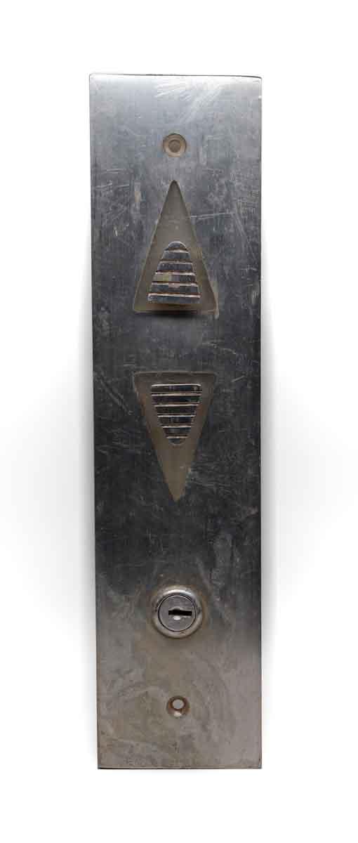 Elevator Hardware - Nickel Over Brass Art Deco Elevator Plate
