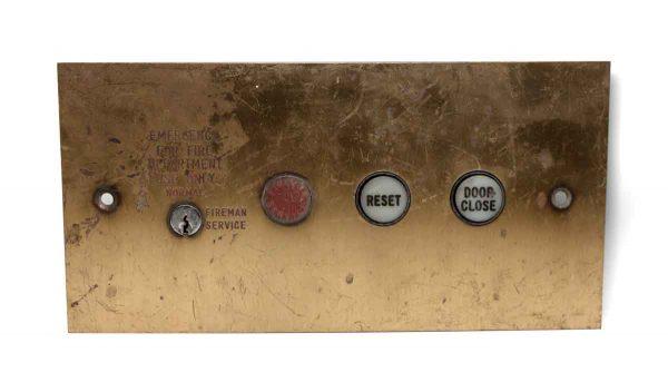 Elevator Hardware - Salvaged Brass Interior Elevator Panel