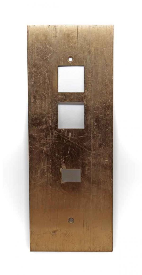 Elevator Hardware - Vintage Brass Elevator Plate with Square Buttons