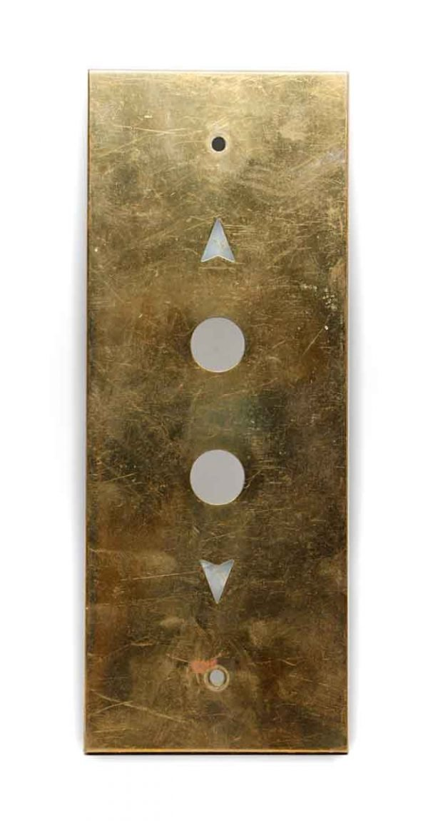 Elevator Hardware - Vintage Polished Brass Elevator Button Plate