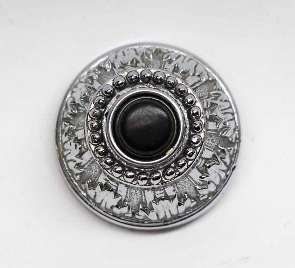 Knockers & Door Bells - Silver Plated Ornate Doorbells with Black Button