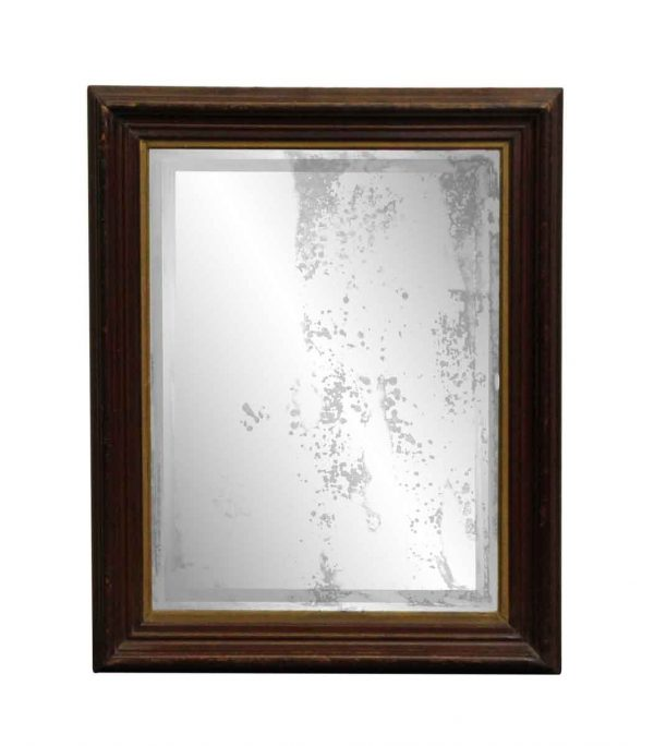 Antique Mirrors - Distressed Dark Framed Wood Mirror