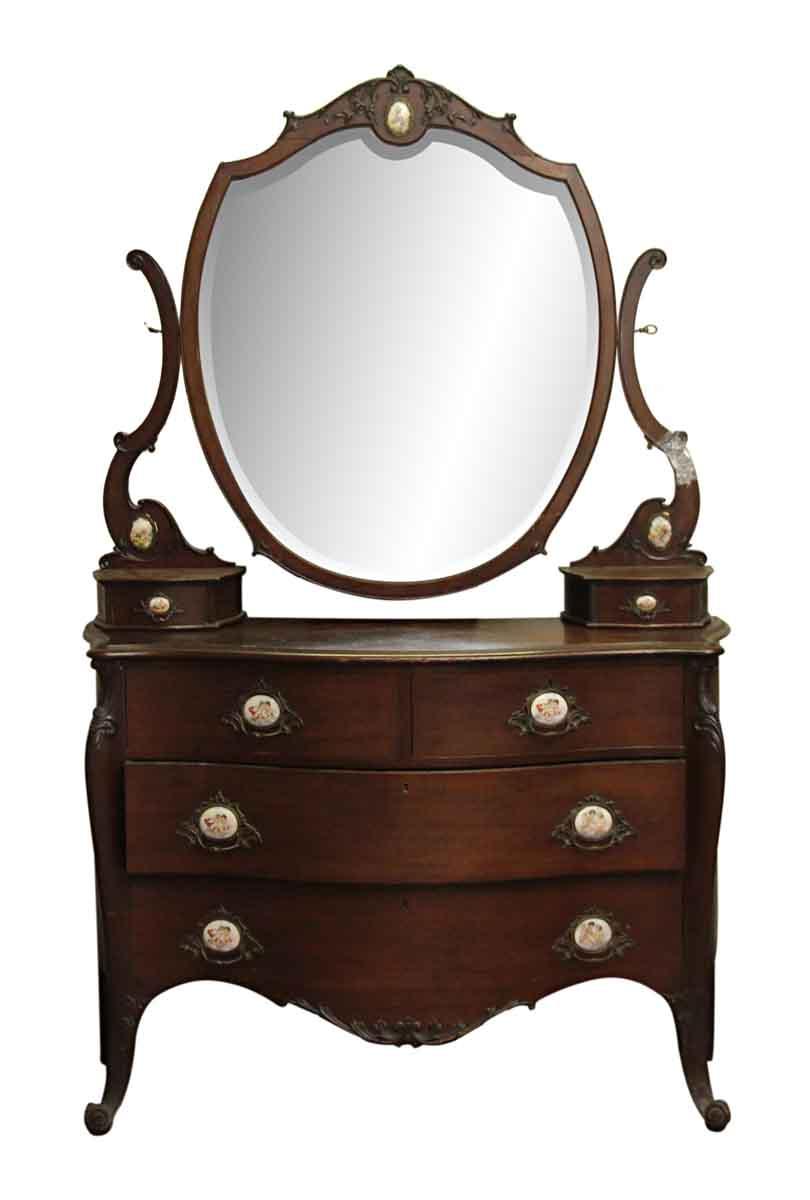 Queen anne mahogany vanity dresser olde good things for Queen anne bedroom furniture