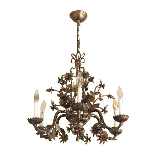Chandeliers - Salvaged Waldorf Brass Six Light Floral Chandelier