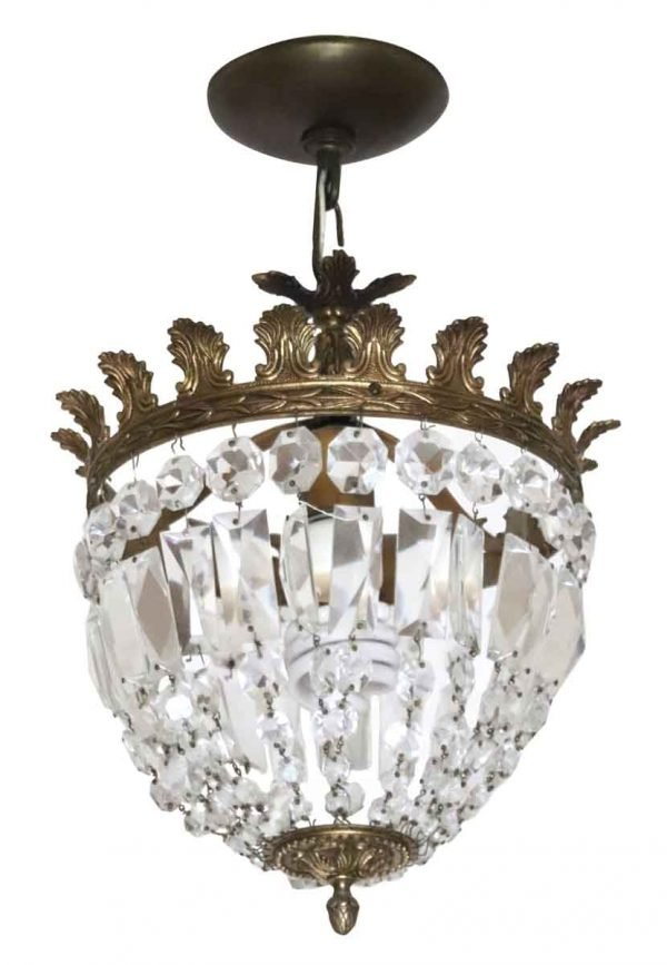 Chandeliers - Salvaged Waldorf Crystal Hanging Basket Chandelier