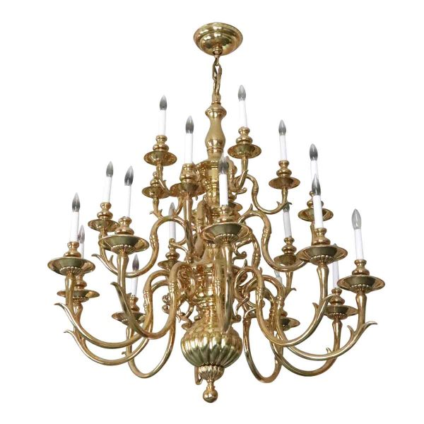 Chandeliers - Salvaged Waldorf Large Colonial Style Brass Chandelier